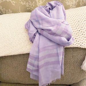 Auth. Burberry Light Lavender Silk & Wool XL Scarf